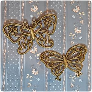 1970's vtg Butterfly wall decor, Homco set of 2
